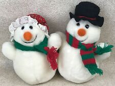 "Vintage Dakin Mr. & Mrs. Snowman 2 Plush Set 1986 Couple Man Woman 8"" Christmas"