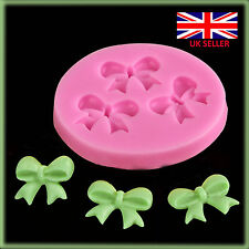 3 Bow Ribbon Flower Silicone Mould Fondant Icing Cake Cupcake Topper Mold Ice