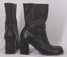 Harley Davidson Motorcycles Black Flame Leather Heeled Zip Boots Women Size 7