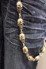 Men Silver Wallet Chains Metal Fashion Keychains Jeans Biker Big Skeleton Skulls
