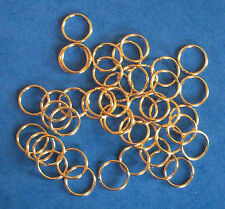 50 gold plated 12.5mm jump rings, findings for jewellery making crafts