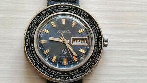 Raketa World Time Cities Rocket Russian Soviet Men's Watch USSR Vintage CCCP