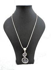 Necklace Long Chain Uk Designer Style Luxury Silver Grey Ball Stones Pendant /