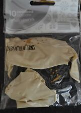 Pack of 10 Congratulations pearlised balloons decoration black/cream gold print