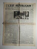 N496 La Une Du Journal L'est républicain 28 août  1928 mort du Maréchal Fayolle