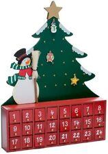 Kurt Adler Wooden Snowman with Tree Advent Calendar Holiday