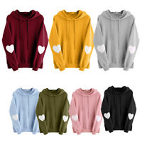 Women Ladies Autumn Heart Hoodie Sweatshirt Hooded Jumper Sweater Pullover Tops