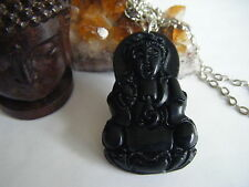 Spiritual Inspirational Wellness Necklace Buddha Hand Carved Large Jade Pendant