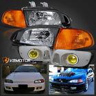 For 92-95 Honda Civic Eg Eh 2dr3dr Jdm Black Headlightscorneryellow Fog Light