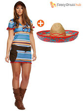 Ladies Mexican Fancy Dress Costume Womens Sombrero Poncho Outfit Size 8 10 12