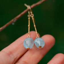 AD91 LOVELY NATURAL Aquamarine STONE 10X11MM earrings 53mm 14K GOLD Filled