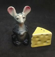 Vintage Salt & Pepper Shakers Mouse & Cheese Pair