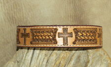 "Custom Saddle Tan Leather Dog Collar 1 1/4"" wide Hand Tooled, Cross / BW. G&E"