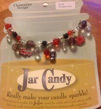 "Firefighter Hero Charms Beads Fits Yankee Candle Jar Elastic 10"" Like Bracelet"
