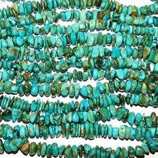 T731k Kingman Natural Blue Turquoise 8mm - 10mm Nugget Chip Gemstone Beads 16""