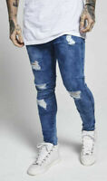 Sik Silk Mens Skinny Stretch Distress Ripped Destroyed Mid Stonewash Blue Jeans