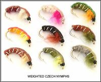 Trout Flies, Fishing Flies, Weighted Czech Nymphs - Hooks 10 12 14 Nymph Fly x 9