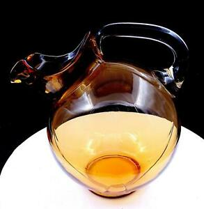 """CAMBRIDGE GLASS #3400/38 AMBER TILT BALL SHAPED 8 3/4"""" PITCHER JUG 1930's-1940's"""