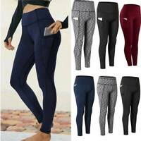 Womens Pockets Yoga Pants Stretch Leggings Fitness Workout Gym Workout Trousers