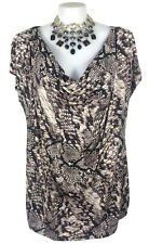 NWT AUTOGRAPH Top - Tshirt Snakeskin Print Stretch Jersey Brown Cream Cowl - 22