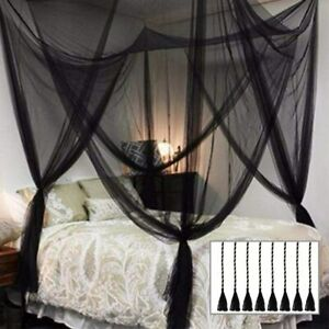 Twinkle Star 4 Corner Post Bed Canopy for Full/Queen/King Size Bed (Elegant Blac