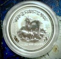 2003 Perth Mint 🇦🇺 Year of the Goat 🐐 Half oz 999 Fine Pure Silver w/case