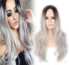 Women Lady Full Hair Long Wavy Curly Grey Ombre Synthetic Hair Cosplay Party Wig