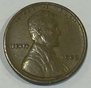 """1909 United States 1 Cent """"Lincoln Wheat Penny"""" Coin No Reserve/Combine"""