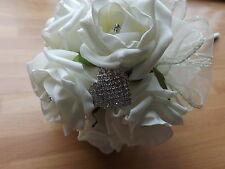 WEDDING FLOWERS BRIDESMAID WAND BOUQUET,IVORY FOAM ROSES,DIAMANTE HEART BROOCH