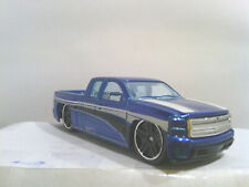 Loose Hot Wheels Chevy Silverado Blue with White Stripes - Pick Up truck - L146