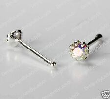 One Silver Nose Stud Bone Ring Tiny 8-Pronged Setting Rainbow Gem Sterling