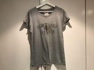 Abercrombie & Fitch grey sequin logo t-shirt size L