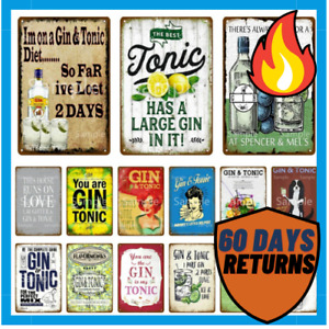 Metal Sign Decor Vintage Tin For Alcohol Cafe Gin Wine Home Kitchen Bar Plaque