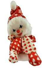 Musical Clown Sitting With Moving Head Vintage 1986 Poter With Red/White Hearts