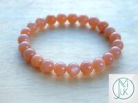 Peach Moonstone Natural Gemstone Bracelet 6-9'' Elasticated Healing Stone Chakra