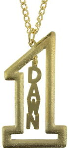 "Vintage Gold Tone Number #1 Name Plate Pendant 2 1/2"" + Necklace 22"" - Dawn"