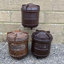 More details for vintage 1930's bakelite tea coffee sugar storage jar set art deco kitchenalia