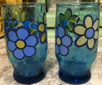 Vintage Juice Glasses~Blue With Floral Yellow And Blue Flowers