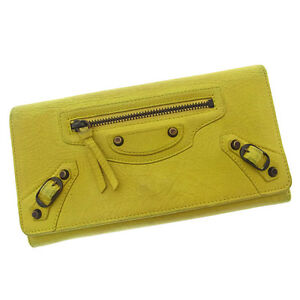 Balenciaga Wallet Purse Long Wallet Yellow Bronze Woman Authentic Used Y1952
