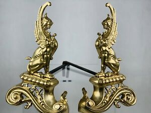 A Pair of  French Brass Griffins Andirons / Fire Dogs
