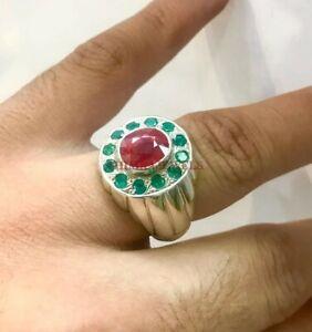 Natural Ruby & Green Onyx Gemsotne with 925 Sterling Silver Ring for Men's #429