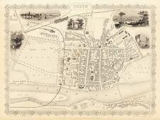 Antique Perth Scotland decorative map Tallis 31,5 x 23,6 inch canvas