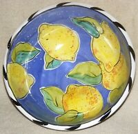 "Uhlmann Studio Pottery Large 10"" Redware Bowl Lemons Decorations"