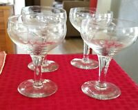 Four Vintage Clear Grape Etched Stemmed Champagne or Wine Glasses