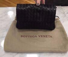 Authentic Bottega Veneta Black Intreciatto Woven Flap Clutch 5662cb5fcd