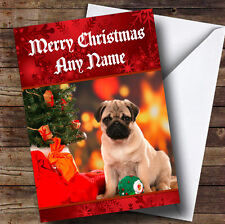 Christmas Pug Personalised Christmas Greetings Card