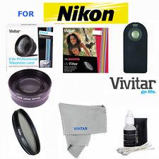 52MM HD 2X TELEPHOTO ZOOM LENS+UV/CPL/ REMOTE FOR NIKON D3100 D3200 D3300 D5000