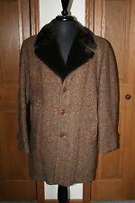 VTG Men's Great Western Wool Tweed Over Coat Jacket 38R Brown Herringbone EUC