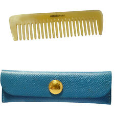 Authentic HERMES Logos Hair Comb Leather Buffalo Horn Blue Gold Accessory 07R934
