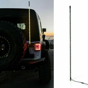 Xprite 4Ft CB Radio Antenna w/ Spiral LED Whip Lights for Offroad Jeep UTV Boat